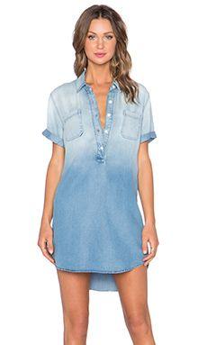 MONROW Henley Pocket Mini Dress in Denim Wash