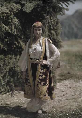 Portrait of woman in costume typical of Epirus at Delphic Festival. National Geographic's Greece in Color from the 1920s Photographer: Maynard Owen Williams in the 1920s