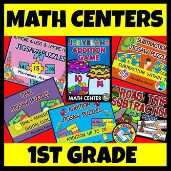 #MATH #CENTERS FOR #GRADE #1: 6 MATH #ACTIVITIES IN 1 BIG BUNGLE! ***#TIME, #ADDITION, #SUBTRACTIONS, #10 #MORE, #10 #LESS, 1 MORE, 1 LESS