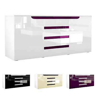 Sideboard Chest Of Drawers Cabinet Sylt White   High Gloss U0026 Natural Tones