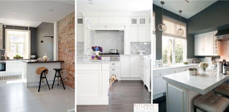 Серые стены и пол на кухне