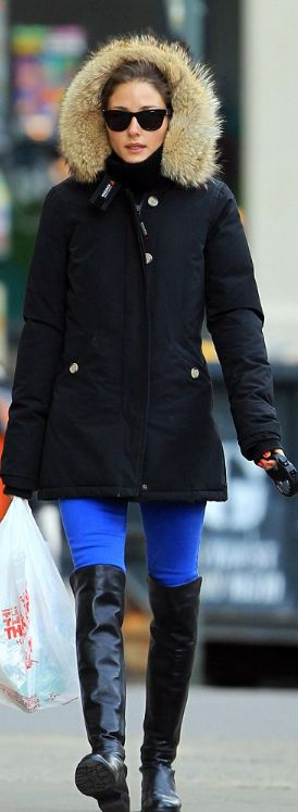 Who made  Olivia Palermo's coat and black thigh high boots that she wore in New York?