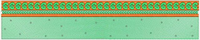 Groen kleur Paisley ontwerp Kant Border