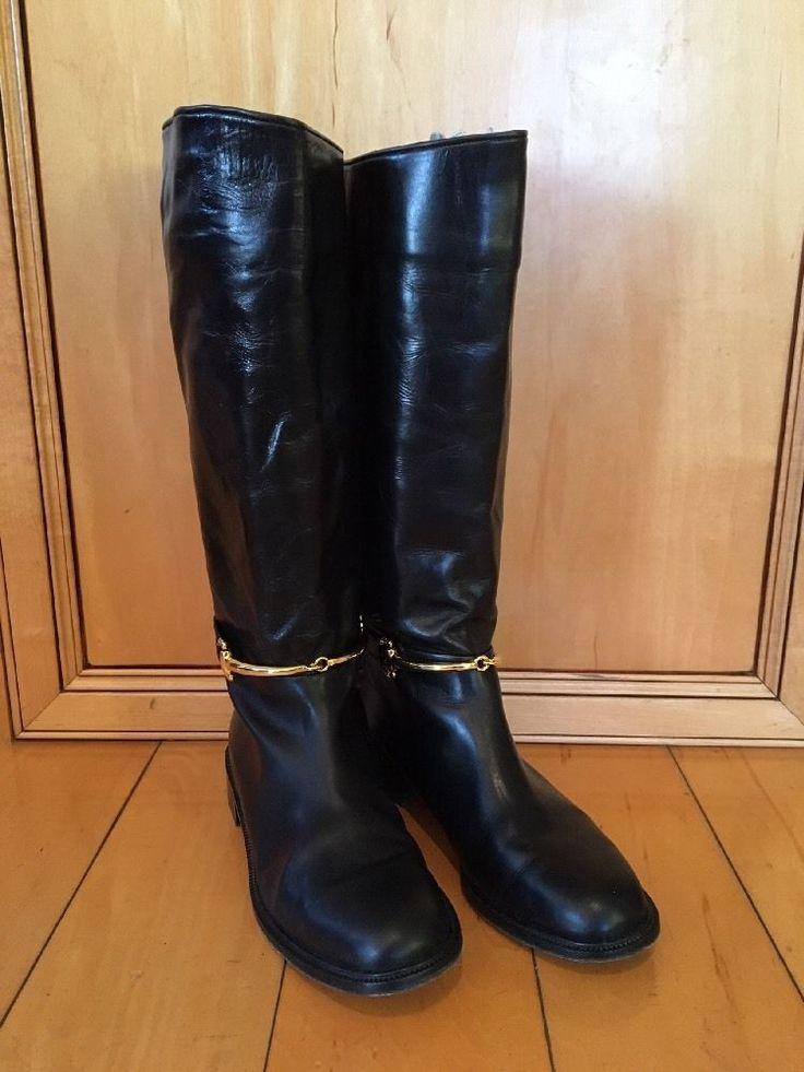 SESTO MEUCCI Italian Black Leather Riding Boots with Horsebit Harness Sz 8.5B #SestoMeucci #KneeHighBoots #ridingboots #Gucci #lookforless #leatherboots #italianleather