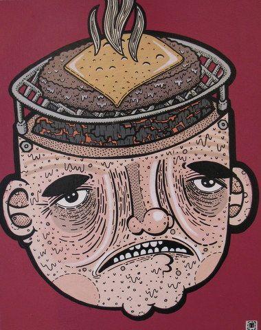 """Heart Cooks Brain"" Acrylic on Board11"" x 14"" Nick Brunt, Urban Folk Artist www.argylefineart.blogspot.com"