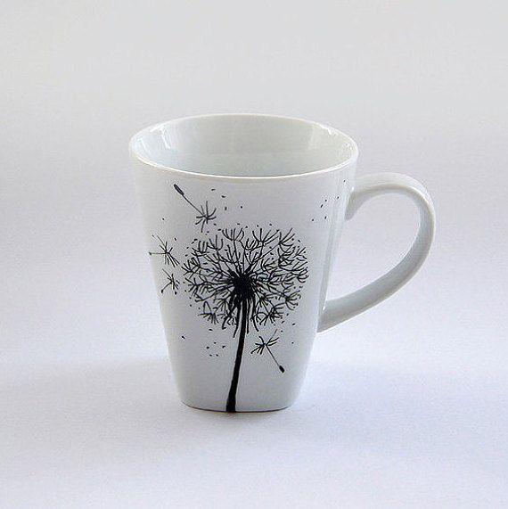 Hand painted flowers mug custom cup by atelierChloe on Etsy