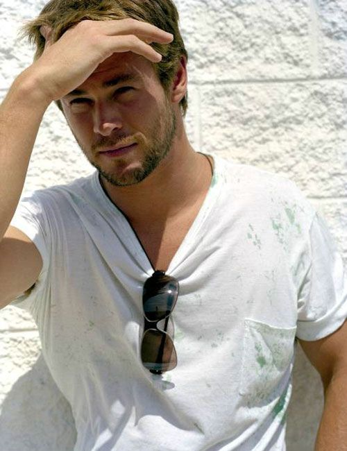 Chris Hemsworth..sun in the face and still hot. How the fuuck