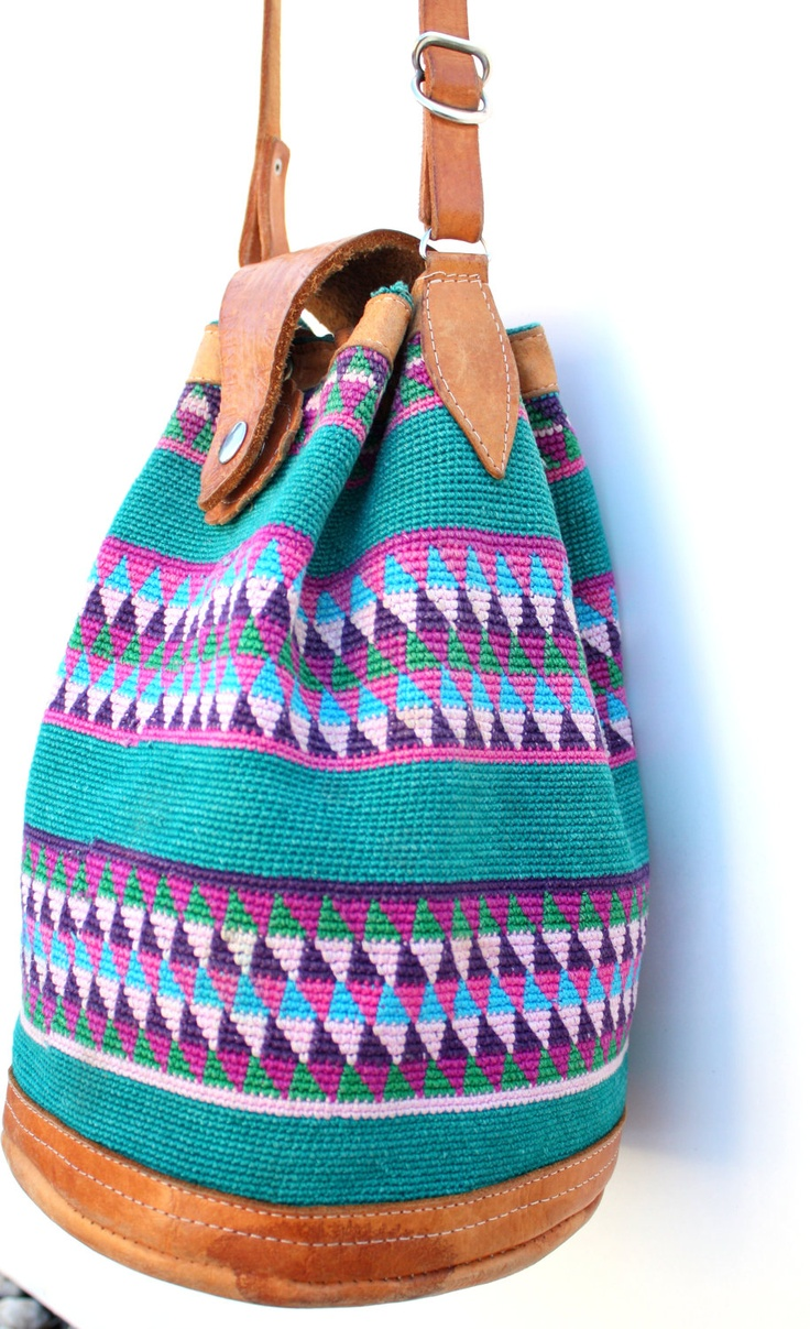 Vintage Large Ethnic Woven Green Bucket Bag.