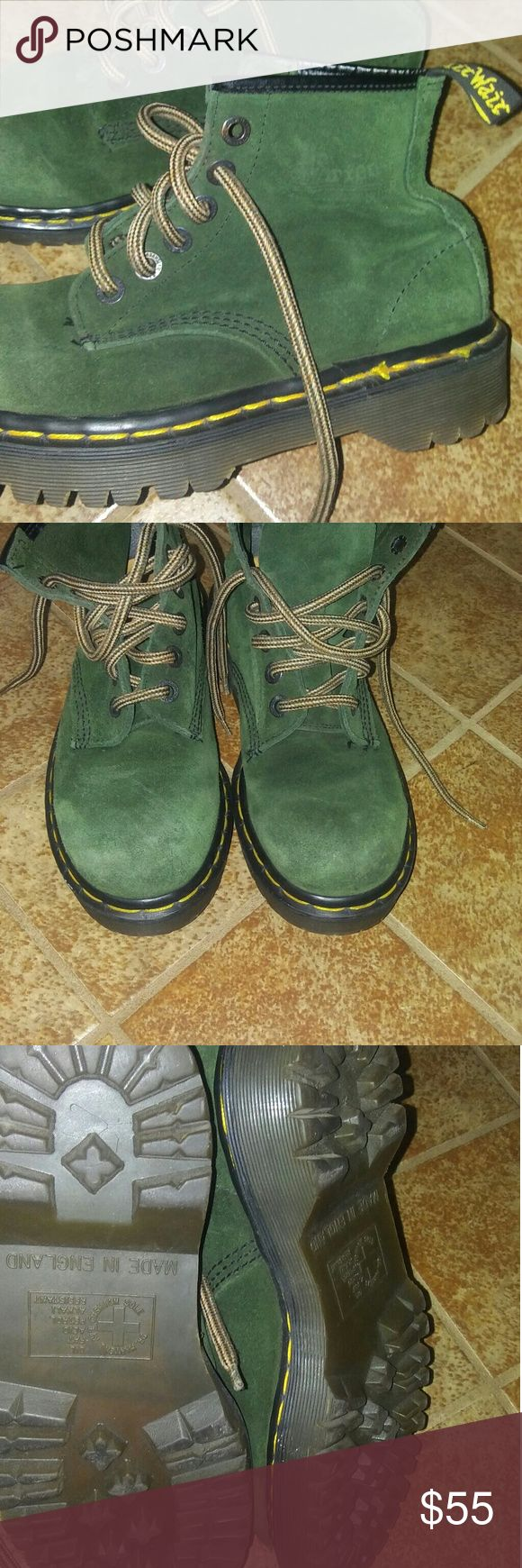 GREEN DR MARTENS BOOTS !!!?????? These are a size 5 which fits a 7 the size i wear buts are big on me. So its safe to say a big 7 perfect 7.5 they are in good condition like new please note in pictures no wear on soles. Price to go!! Would go good with. Camo!! Thanks Dr. Martens Shoes Lace Up Boots