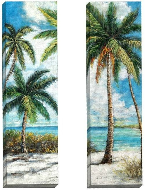 dreamy set of 2 palm trees on the beach canvas art 12x36 inches