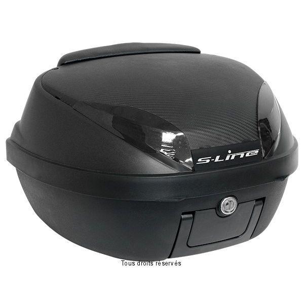 Offrez-vous le confort d'un coffre de moto. Pratique et indispensable pour vos déplacements afin d'y ranger votre casque et autre. Son look carbone et la qualité de son plastique le classe parmi les meilleurs du marché. Livré avec une platine de fixation universelle.  Capacité : 42 litres \/ Poids : 3,46 kgs  Dimensions : longueur : 40 cm \/ largeur : 49 cm \/ hauteur : 31cm   Fixations : Livré avec platine de fixation Fermeture : par serrure \/ livré avec 2 clés
