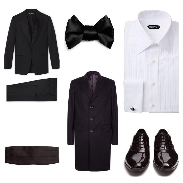 Client brief: Evening outfit for formal work occasion: Mohair tuxedo, bow tie, shirt, cummberband, shoes & cashmere overcoat: Tom Ford