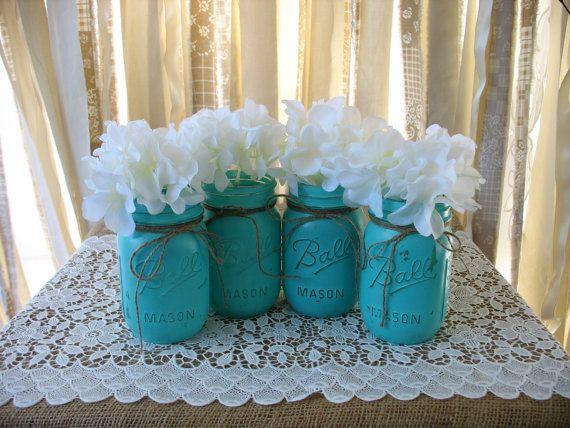 Pint Mason Jars Painted Mason Jars Rustic by TheShabbyChicWedding