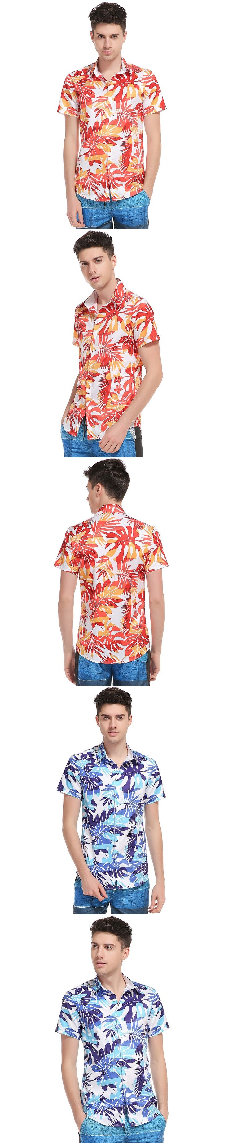 New fashion foreign trade new men's 3D printing palm tree leisure short sleeved Hawaii beach shirt high quality