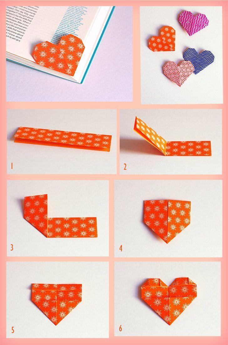 Lindo marcador formato de coração para ser usado no canto da página.Acabou de ler um livro interessante e não tem um marcador de páginas à mão? Com alguns passos faça você mesmo seu marcador de páginas usando a milenar técnica de origami.