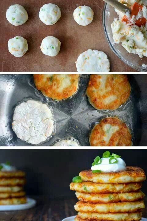Cheesy leftover mashed potatoes pancakes