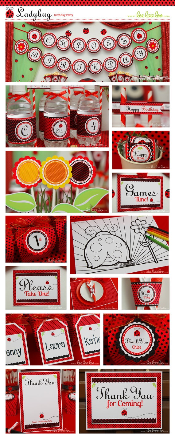 Ladybug Birthday Party Package Personalized Printable Design by leelaaloo.com