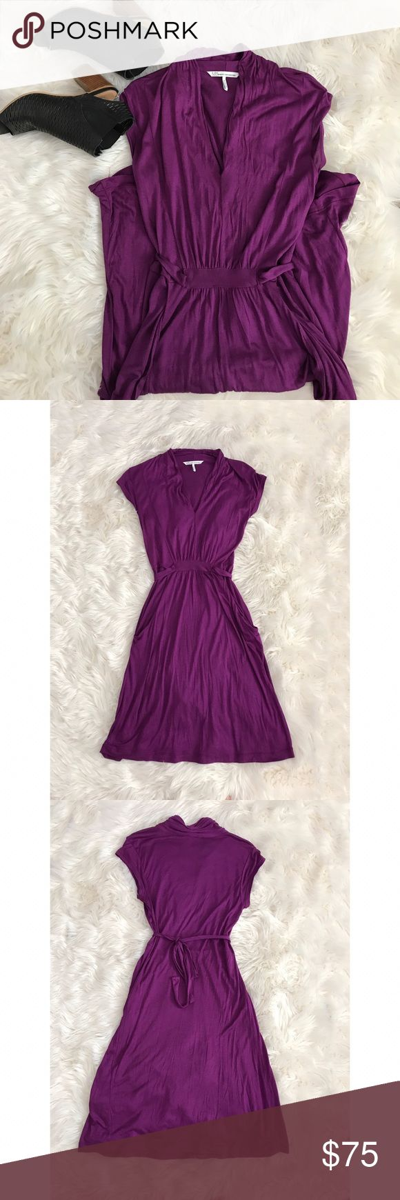 "UK Style by French Connection Pocket Dress UK Style by French Connection Pocket Dress.  Gorgeous electric purple color, 100% Rayon super soft material.  Waist tie belt, tie on back or wrap around twice.  Two front side pockets.  Measurements- Bust 17"" across.  Waist 14"".  Length 39"" measured lying flat without stretching. UK Style by French Connection Dresses"