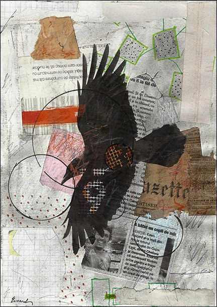 ART PRINT Painting Collage Raven Flight   Mixed Media by rcolo, $11.00