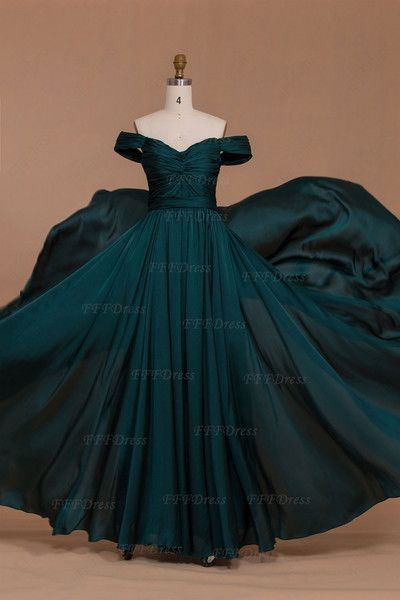 Off the shoulder dark green long prom dresses