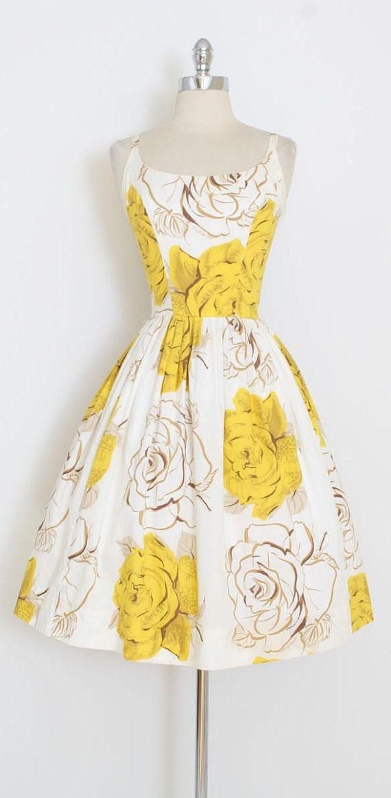 ➳ vintage 1950s dress * vibrant yellow roses dress * smooth cotton with oversize yellow rose print * metal back zipper * cotton lined bodice * by Gallant of CA condition | excellent fits like xs/s length 41 bodice 16.5 bust 36-37 waist 26-27 ➳ shop http://www.etsy.com/shop/millstreetvintage?ref=si_shop ➳ shop policies http://www.etsy.com/shop/millstreetvintage/policy twitter | MillStVintage facebook | millstreetvintage instagram | mi...