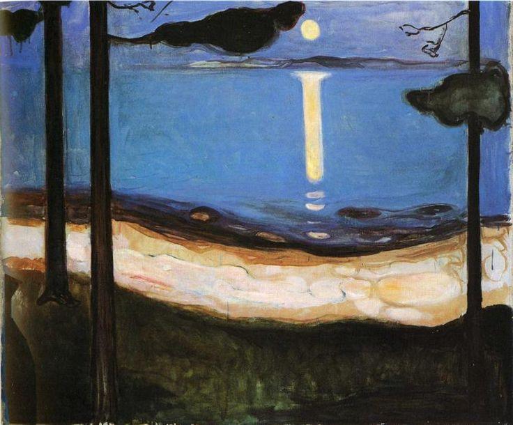 edvard munch, moonlightEdvardmunch, Artists, Museums, Canvas, Painting, Moon Lights, Moonlight 1895, 1863 1944, Edvard Munch