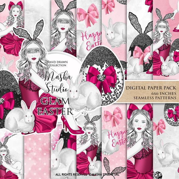 Glam Easter Digital Papers Fashion Girl Planner by MashaStudio #easter #digital #paper #pattern #egg #patterns #fashion #girl #illustration #watercolor #hand #drawn #glitter #rabbit #pink #seamless #images #backgrounds #planner #cover #fabric #print #mashastudio #masha #studio