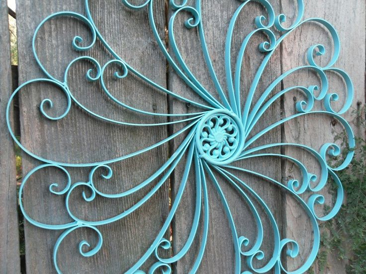 Large Wrought Iron Wall Decor / Metal Wall Decor / Aqua
