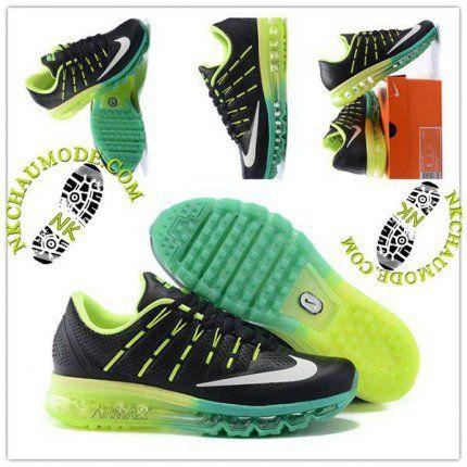 Tendance | Nike Chaussure Sport Air Max 2016 Homme Noir/Vert/Jaune 01