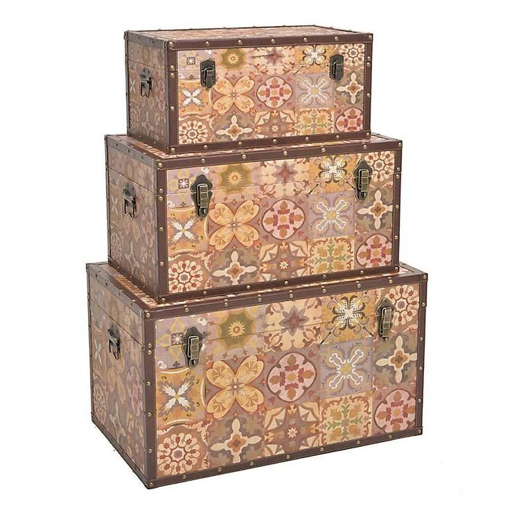 S/3 WOODEN TRUNK IN BEIGE-GREY COLOR 69X42X40 - Chests - FURNITURE