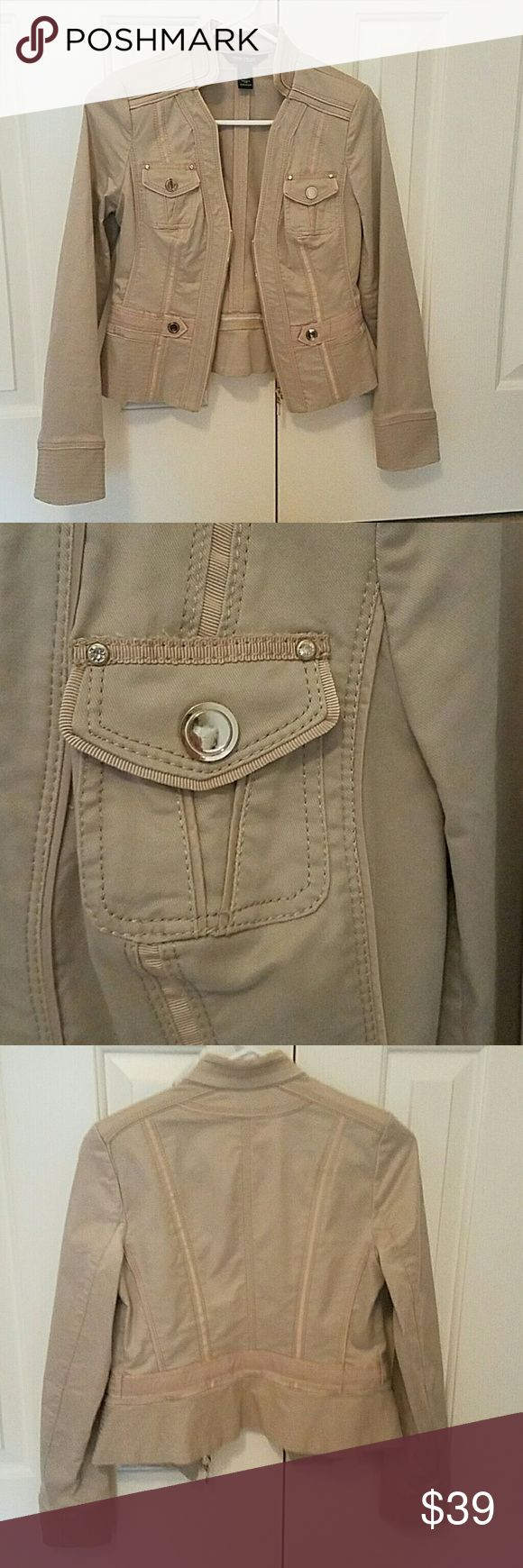 Sexy WHBM tan jacket with gorgeous silver embellis Sleek WHBM dressy/casual jacket great for work or dressing up jeans.  Great condition!  Why pay WHBM high prices when you get for a steal! White House Black Market Jackets & Coats Blazers