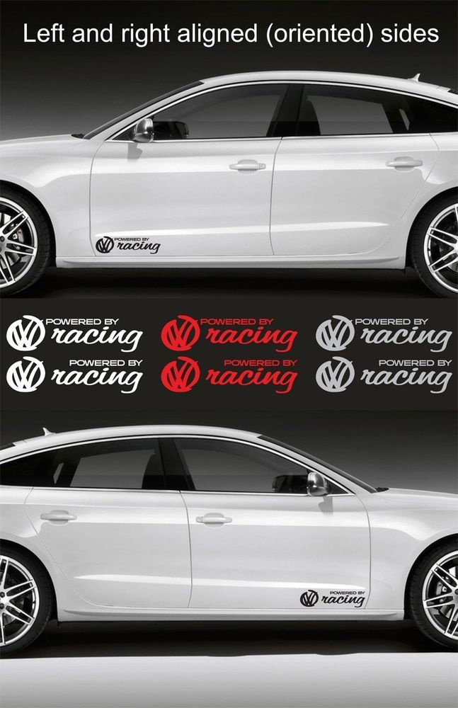 2pcs powered by volkswagen racing 15 wide vinyl decal sticker emblem graphic volkswagen and cars