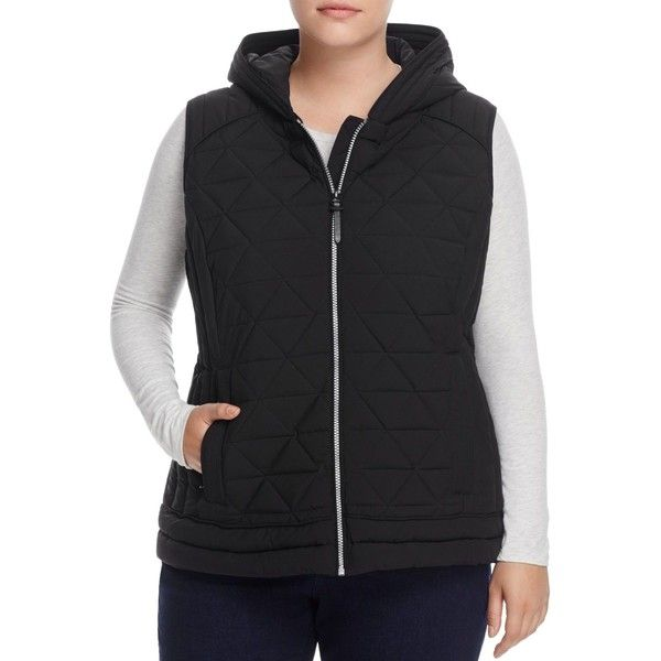 Marc New York Plus Sage Hooded Quilted Vest ($120) ❤ liked on Polyvore featuring plus size women's fashion, plus size clothing, plus size outerwear, plus size vests, black, marc new york, layered vest, marc new york vest, vest waistcoat and quilted vests