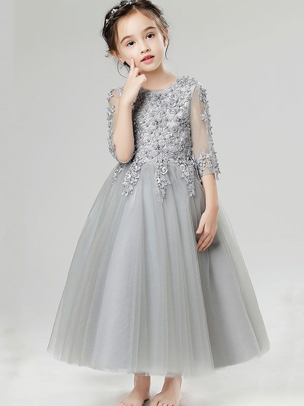 2b782cdb9f23f Embroidery Solid Color Pearl Round Collar Half Sleeves Long Dress ...
