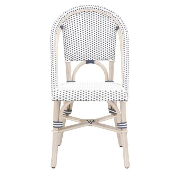 W 19 D 23 5 H 35 5 White Wash Rattan Denim White Check Rattan Frame Suitable For Covered Outdoor Use Dining Chair Set Rattan Dining Chairs Chair