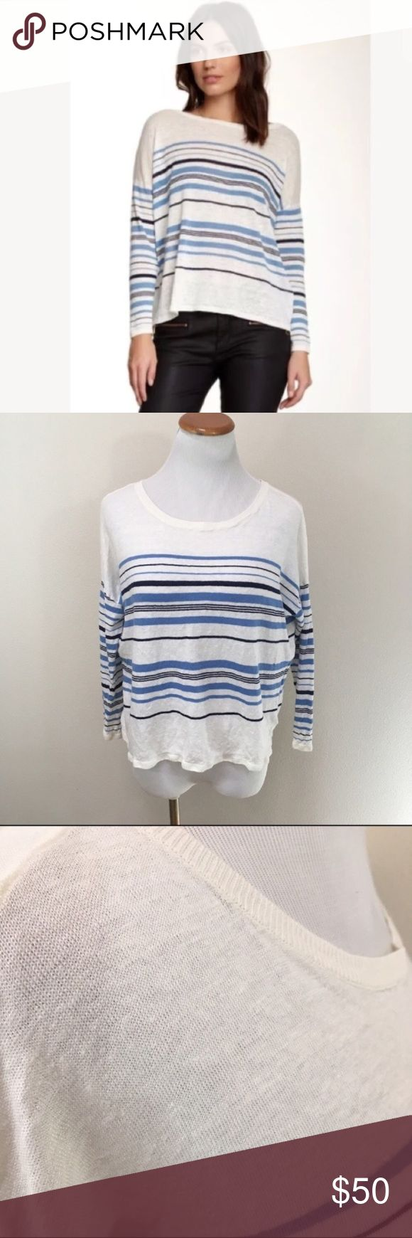 """Joie Maine White Linen Blue Striped Top Medium Joie Maine White Linen Blue Striped Nautical Long Sleeve Top Women's Medium. Excellent condition. Light weight. Clean and comes from smoke free home. Questions welcomed. Armpit to armpit: 22.5"""" across Length: 20"""" Joie Tops Blouses"""