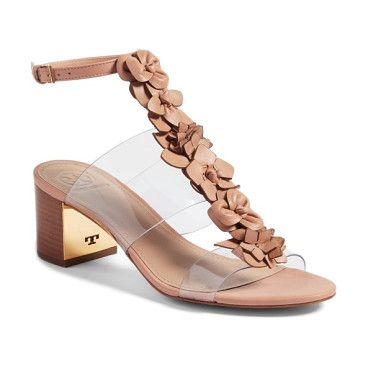 blossom sandal by Tory Burch. Cut-leather blooms march down the vamp of a comfortable sandal fashioned with wide, clear straps for a modern kick. G...