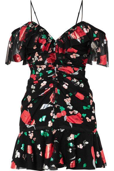 alice McCALL – Kismet cold-shoulder ruched metallic printed chiffon mini dress
