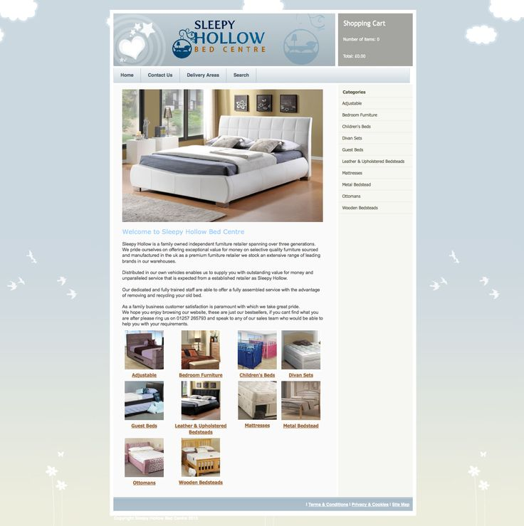 Sleepy Hollow Bed Centre - Design and build dos static showroom site