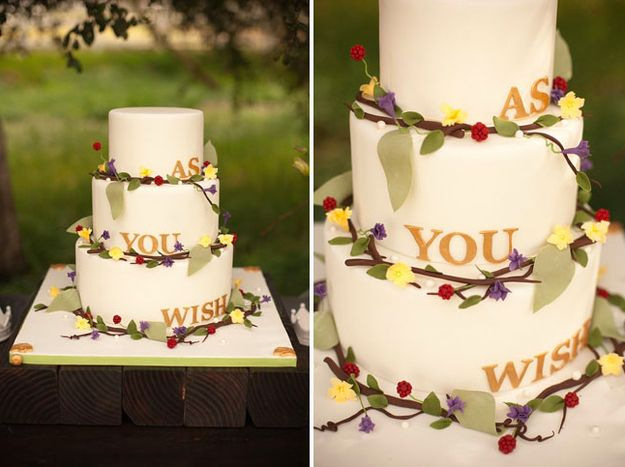 Princess Bride themed cake suggests the greatest love story of all time.  Adore this.