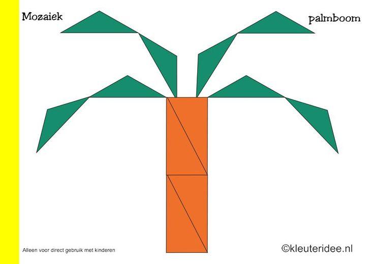 Mozaiek voorbeeldkaarten voor kleuters 7, palmboom, kleuteridee.nl , Preschool mosaic patterns, free printable.