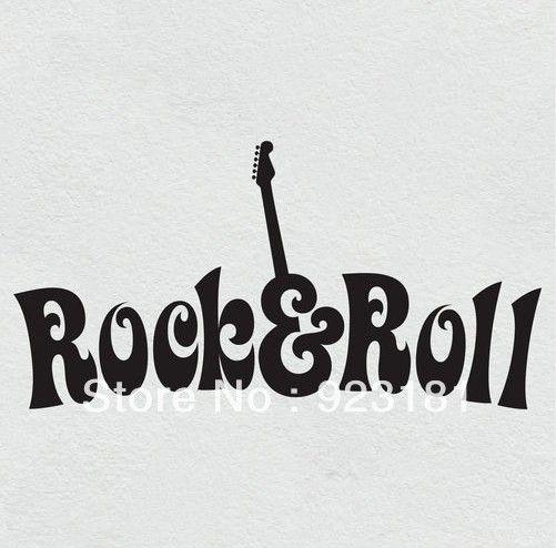 Gratis verzending muziek gitaar rock' n roll muurstickers sticker diy home decoration slaapkamer muurschildering verwijderbare sticker( 78x40cm)
