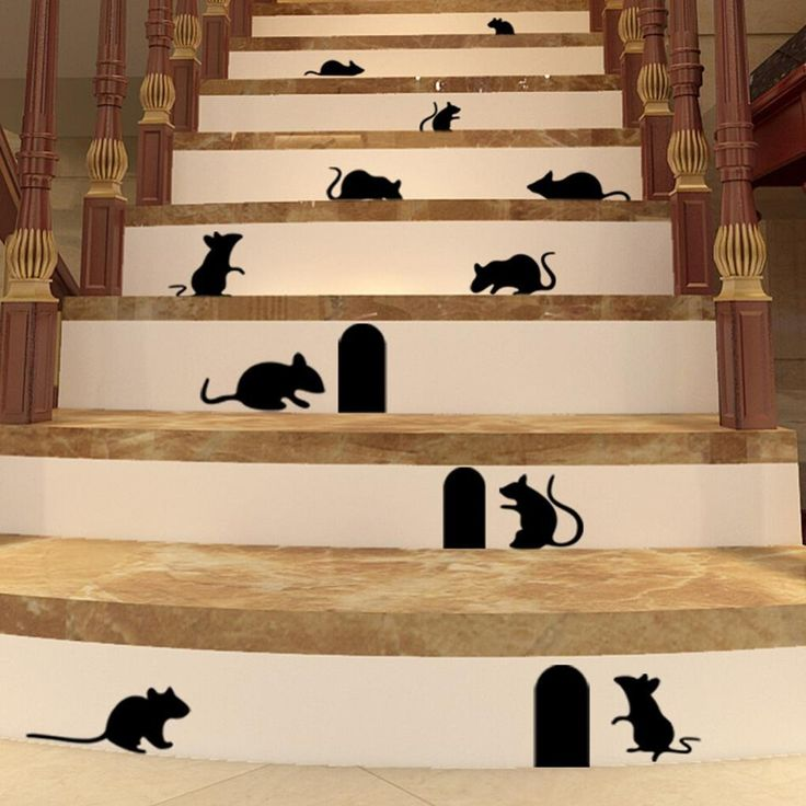 Unique HQ Mouse Hole wall decal rat wall sticker 3d wall mural stairs stickers self adhesive wallpaper eco-friendly art