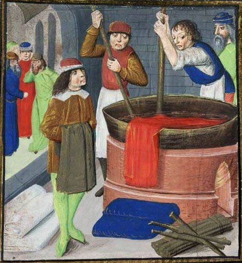 Dying wool cloth De proprietatibus rerum BritishLibrary Royal MS 15.E.iii (1482)