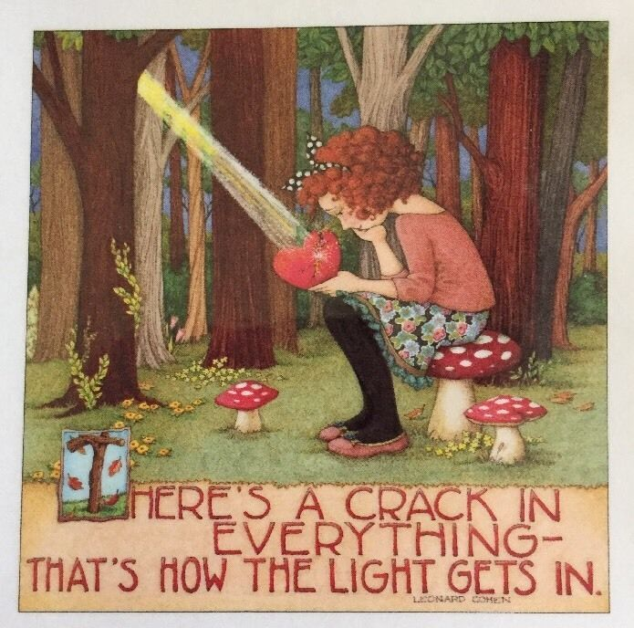 There's A Crack In Everything-Handmade Fridge Magnet-Mary Engelbreit Artwork