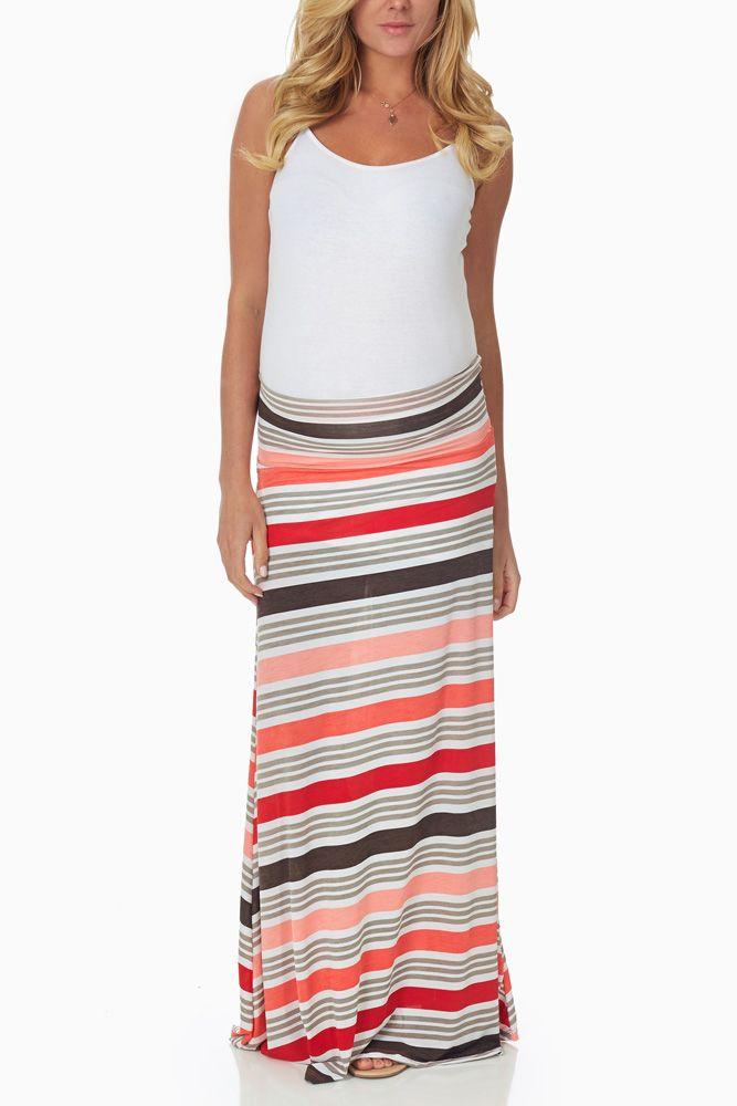 Coral-Grey-Striped-Maternity-Maxi-Skirt #maternity #fashion
