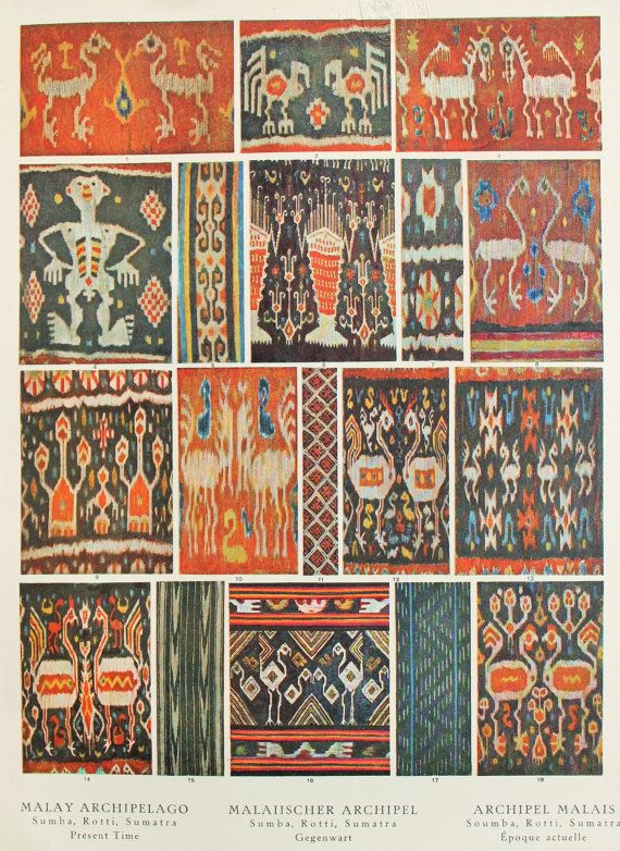 Sumba, Rotti, Sumatra (Malay Archipelago), Modern Period Textile Designs. 1920s Vintage Print, Colour Lithograph by Bossert This is an original antique (1920s) lithograph by Bossert, which has been taken from a disbound book.