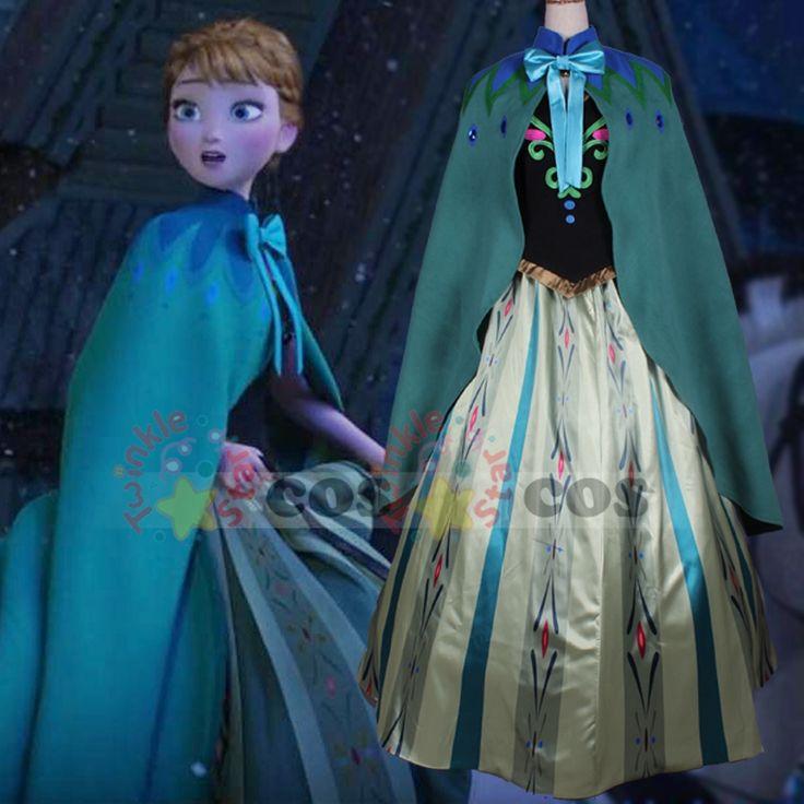 disfraz snow grow princess elsa anna costume princess anna cloak stamp halloween cosplay costume for adult #Affiliate