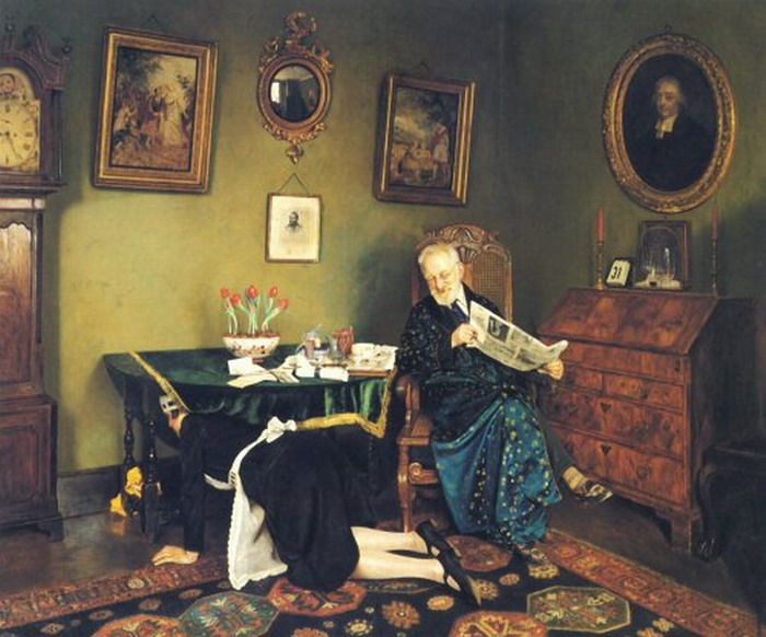 Charles Spencelayh (1865-1958) was an English genre painter and portraitist in the Academic style ~ She Stoops to Conquer, 1931:
