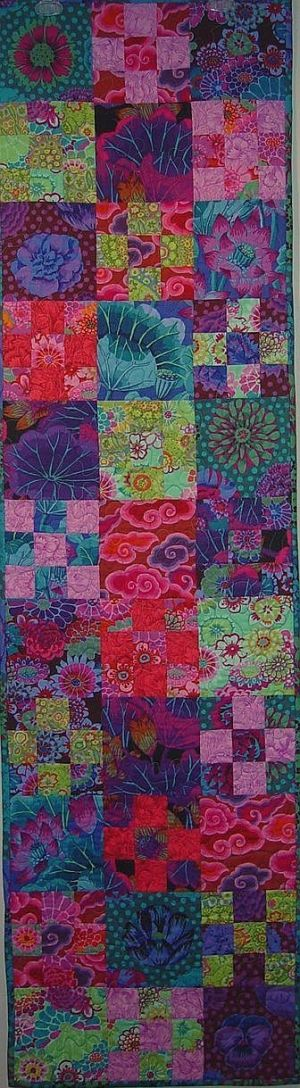 Kaffe Fassett Bold Blooms Tablerunner Kit, 18x66 inches, pattern in 'Skinny Quilts & Table Runners' by Limajane